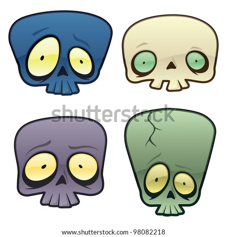 Goofy Vector Skulls. Here are four goofy looking vector skulls. The file was saved in a .eps 10 format, and uses no transparencies or gradients. - stock vector