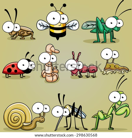 Googly Eyed Insect bugs, roach, bee, grasshopper, cricket, worm, ant, slug, snail, mosquito, praying mantis - stock vector