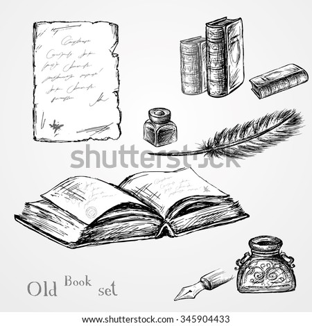 Goose feather , elegant old-fashioned decorative inkpot ,old paper with inscription.Old book. Vintage background. Hand drawn vector