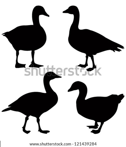 goose silhouette - stock vector