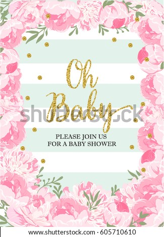 baby shower girl stock images, royalty-free images & vectors, Baby shower invitations