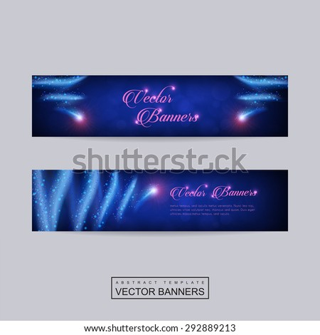gorgeous banner template set design with glitter abstract elements
