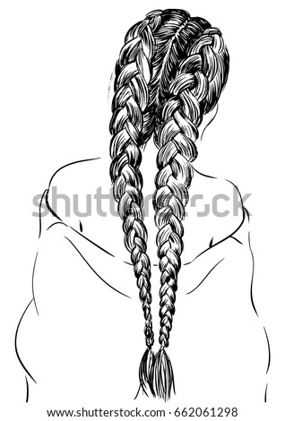 Girl Stylish Braid Hairstyles Stock Vector 522113617 - Shutterstock