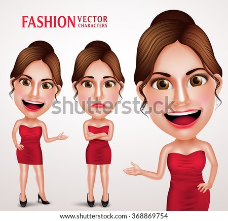 Gorgeous Fashionable Woman Vector Character Posing Like Model Wearing Red Elegant Dress, Good Hairstyle and Makeup. Vector Illustration  - stock vector