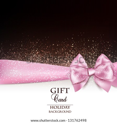 Gorgeous holiday background with pink bow and copy space. Vector illustration - stock vector
