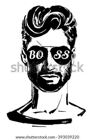 Gorgeous Man with Beautiful Hair in Sunglasses Boss - stock vector