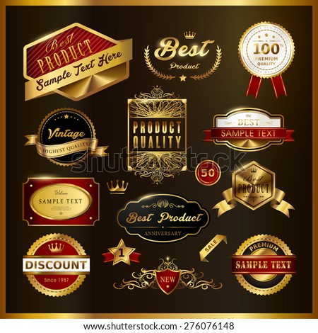 gorgeous premium quality golden labels collection over black - stock vector