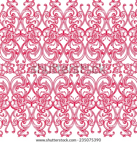 Gorgeous seamless floral background. Floral background in red. - stock vector