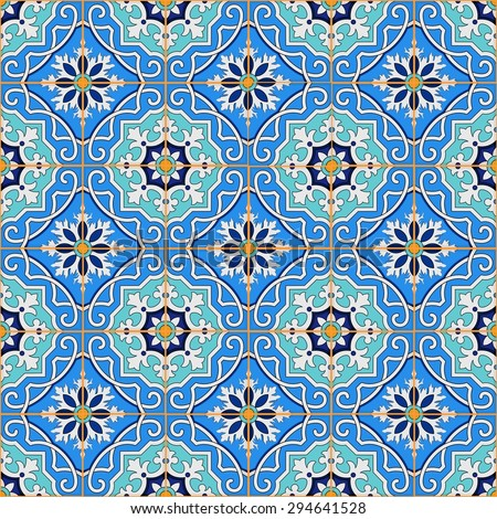 Gorgeous seamless patchwork pattern from blue Moroccan tiles, ornaments. Can be used for wallpaper, pattern fills, web page background, surface textures.  - stock vector