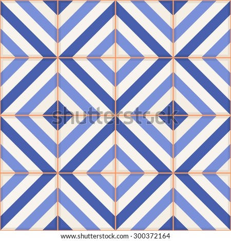 Gorgeous seamless pattern from  Moroccan tiles, ornaments of blue stripes. Can be used for wallpaper, pattern fills, web page background, surface textures.  - stock vector