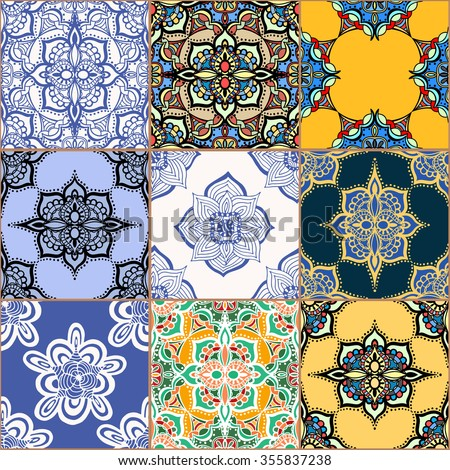 Gorgeous seamless pattern white colorful Moroccan, Portuguese tiles, Azulejo, ornaments. Can be used for wallpaper, pattern fills, web page background,surface textures. - stock vector