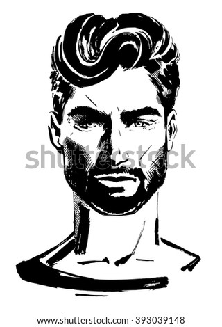 Gorgeous Top Male Model with Beautiful Hair - stock vector