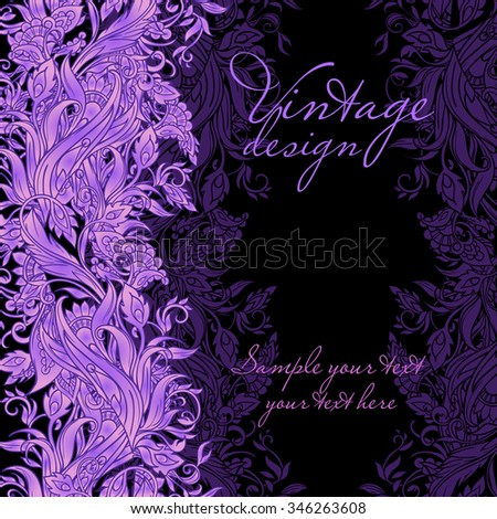 Gorgeous Vintage vertical seamless pattern with floral ornaments lilac blue gentle tones on a black background - stock vector