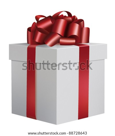 Gorgeous white box with glossy red ribbon and bow - Christmas present (vector illustration) - stock vector