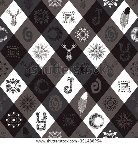 """Gorgeous winter seamless pattern with stylish drawn elements: deer, feather, snowflake, tribal print, word """"Joy"""". Repeat pattern for fabric, wallpaper, web page, gift wrap, Christmas card, etc. Vector - stock vector"""