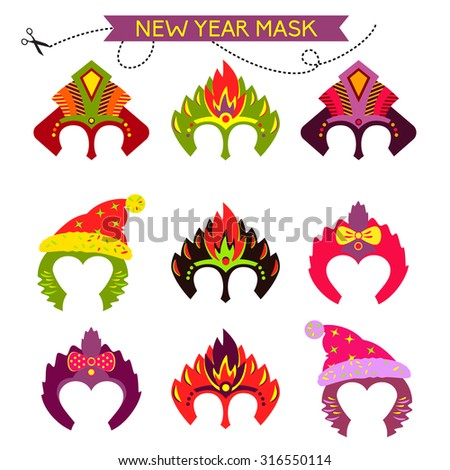 Gorgeus Set of colorful christmas monkey masks. Hand drawn mask for happy new year. Chinese zodiac 2016. Child party. Cut and play.  - stock vector