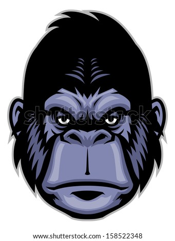 gorilla head mascot - stock vector