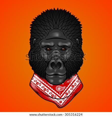 Gorilla head with gradients. isolation on a orange background - stock vector