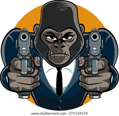 gorilla in suit aiming with pistols - stock vector