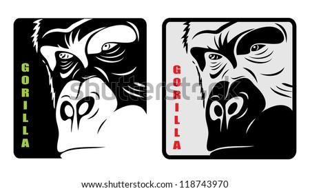 Gorilla label - vector illustration - stock vector