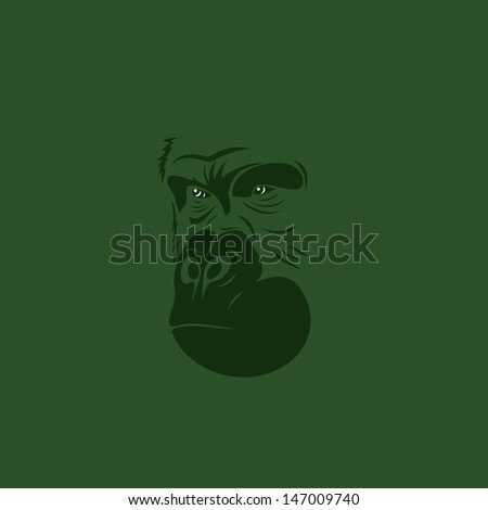 Gorilla portrait - vector illustration - stock vector