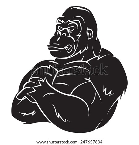 Gorilla Strong Mascot Tattoo - stock vector