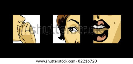 gossiping beautiful women comics style vector drawing illustration - stock vector