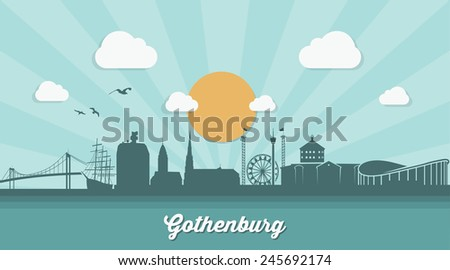 Gothenburg skyline - flat design - vector illustration - stock vector