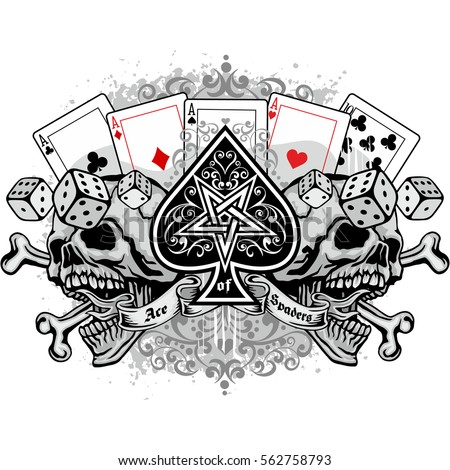 Gothic Ace Of Spades With Skull Grunge Vintage Design T Shirts