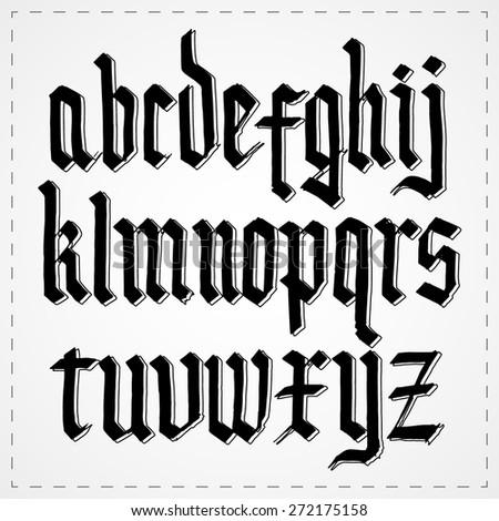 Gothic alphabet font. Vector - stock vector