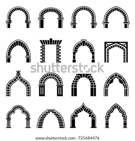 Gothic And Islamic Arch Architecture Icons Set Simple Illustration Of 16