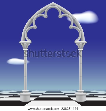 Gothic arch against a blue sky background and checkerboard floor. Vector illustration - stock vector