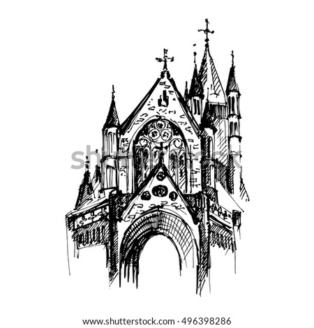Hand Drawn Gothic Cathedral Vector Illustration
