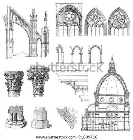Gothic building style / illustrations from Meyers Konversations-Lexikon 1897 - stock vector