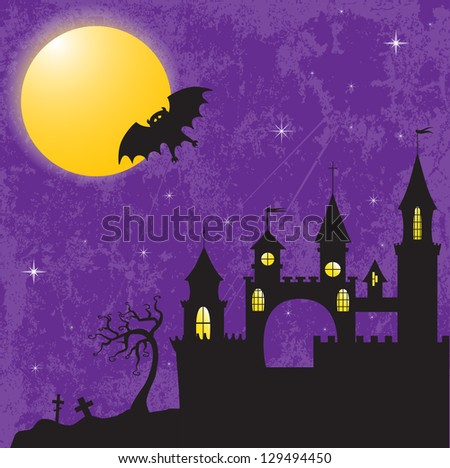 Gothic castle in the moonlight. EPS10 vector illustration for Halloween design. - stock vector