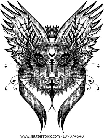 gothic cat, black cat, cat vector, magical cat, devil cat - stock vector
