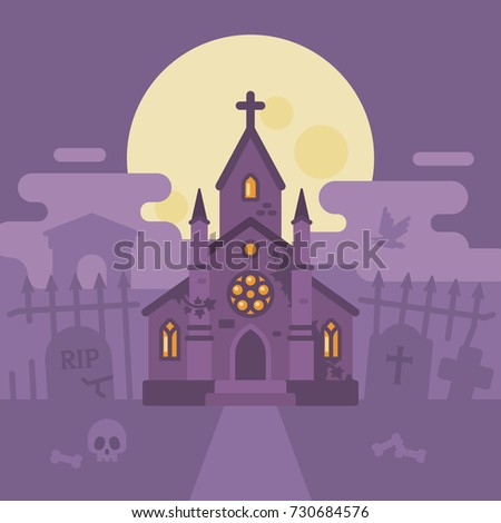 Gothic Cemetery With A Haunted Chapel Halloween Graveyard Flat Illustration Trick Or Treat