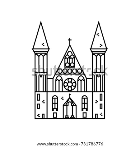 Gothic Church Flat Line Icon On Isolated Background Vector Outline Illustration Of Chapel With Stained