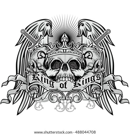 Gothic coat of arms with skull and wings, grunge.vintage design t-shirts