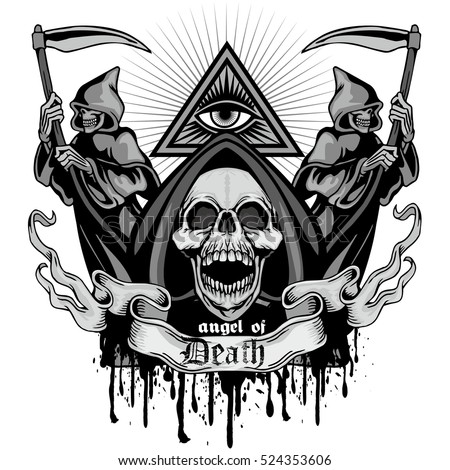 Gothic coat of arms with skull, grunge.vintage design t-shirts