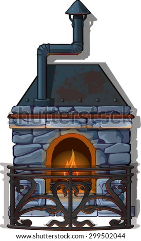 Gothic fireplace grey stone, with wrought steel fence - stock vector