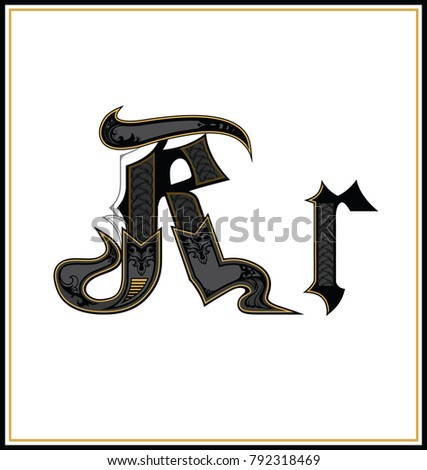 Gothic Font Letter R Vintage Design Text Symbol Antique Calligraphy Old Lettering Retro