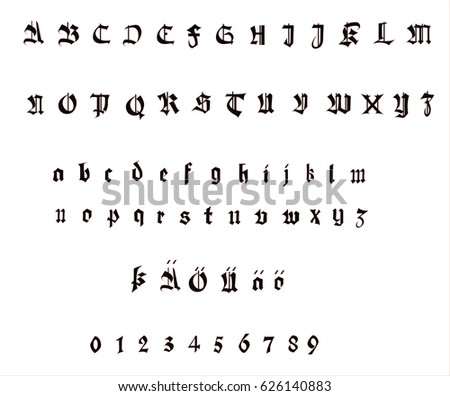 Gothic German Alphabet Vector Font Illustration Stock