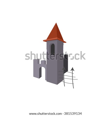 Gothic Halloween tower icon, cartoon style - stock vector