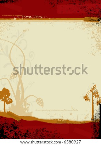 Gothic illustrated background in red and orange with a floral design - stock vector