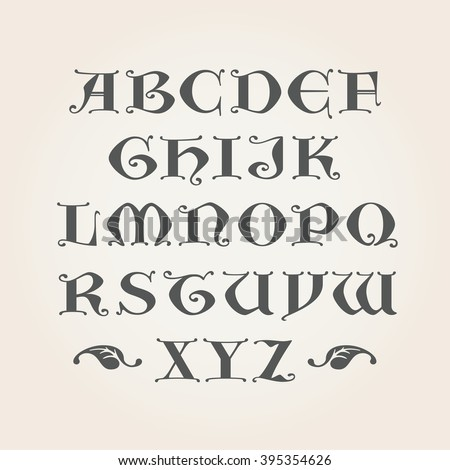 Gothic Initials Capital Latin A Z Letters In Vector Decorative Alphabet