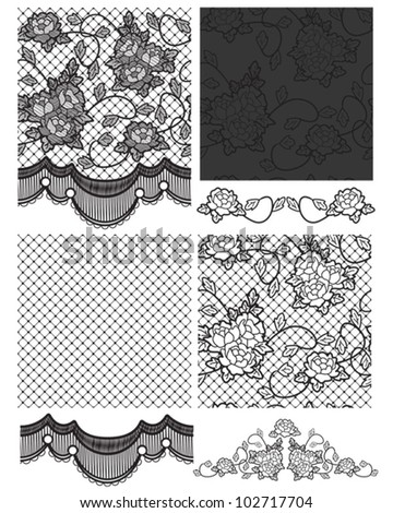 Gothic Lace Vector Seamless Patterns.  Right on trend for high street fashion. Use for fabric projects or paper craft. - stock vector