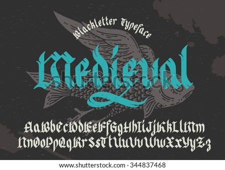 Gothic medieval typeface. Black-letter fracture font with flying fish illustration. - stock vector