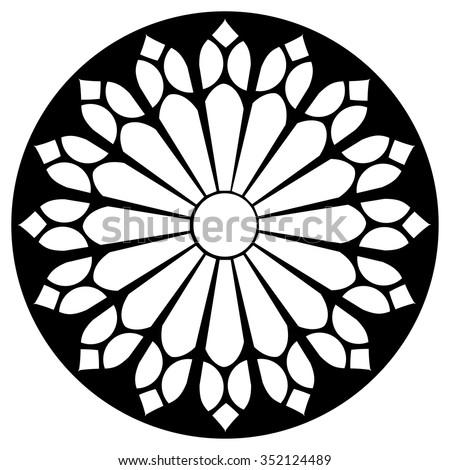 Gothic Rosette Window Pattern Vector Black Stock Vector ...