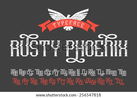"Gothic ""Rusty Phoenix"" font with decorative swashes alternates - stock vector"